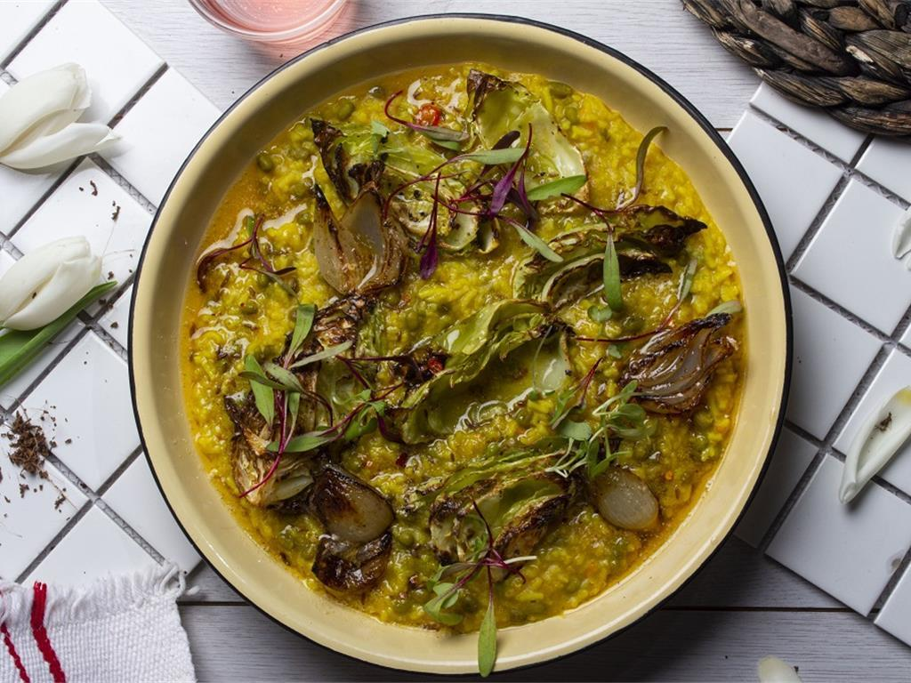 Khichdi with Roast Cabbage and Pearl Onion