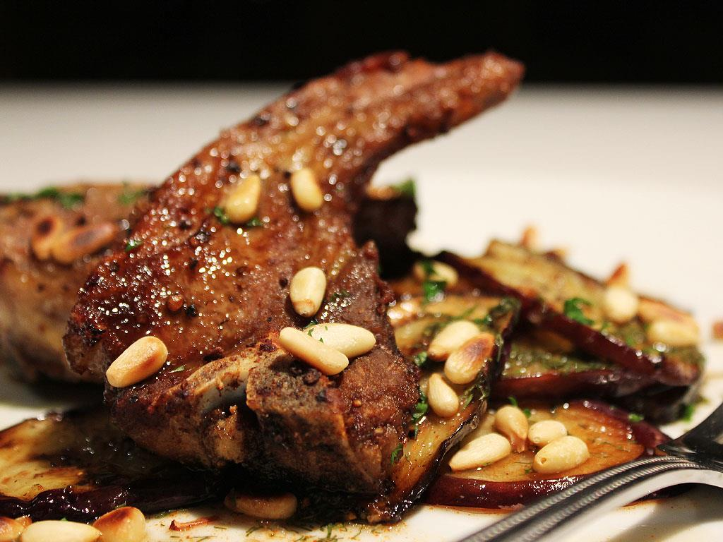 Lamb Cutlets with Spicy Aubergines