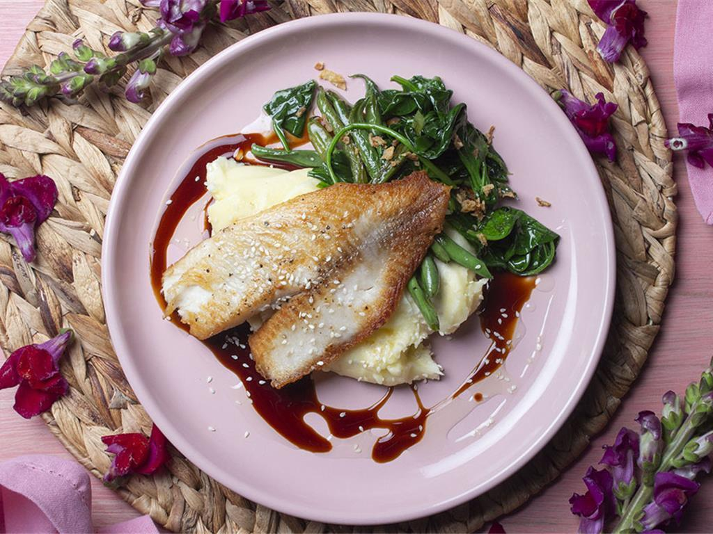 Sticky Seared Tilapia with Greens and Fluffy Mash