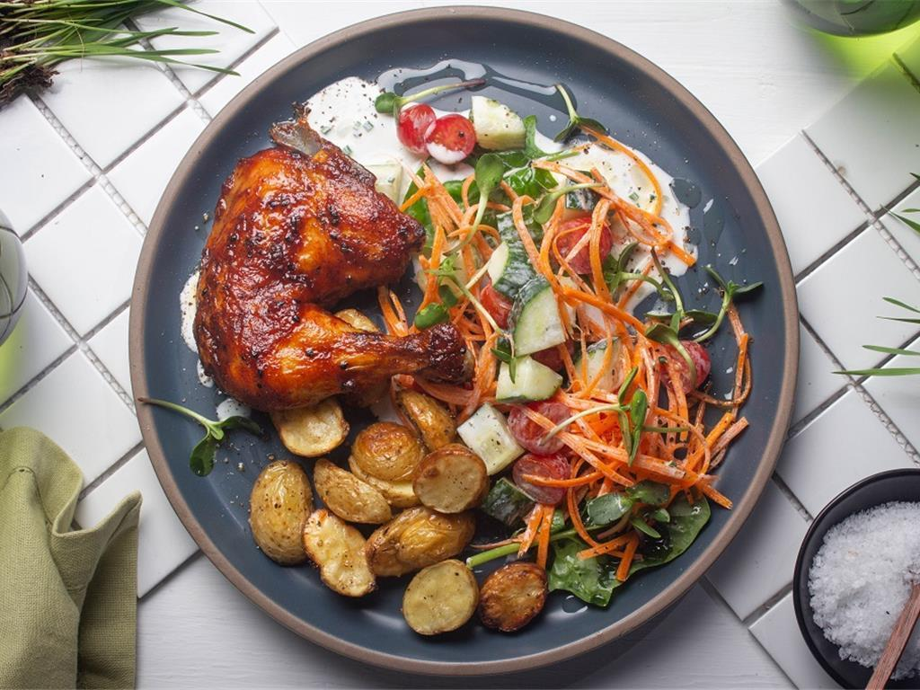 Roast Gochujang Chicken with Cottage Salad