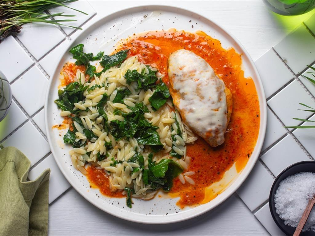 Cajun Chicken Parm with Creamy Spinach Orzo