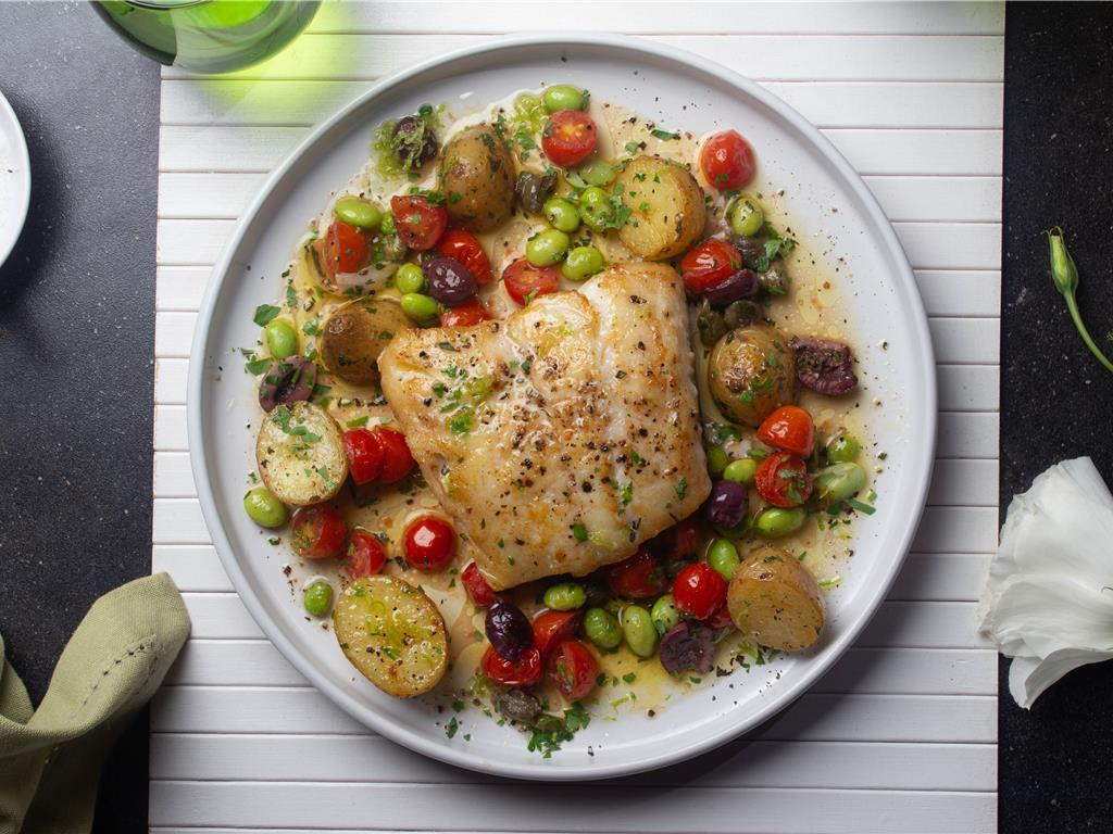 Seared Hake, Olives and Capers