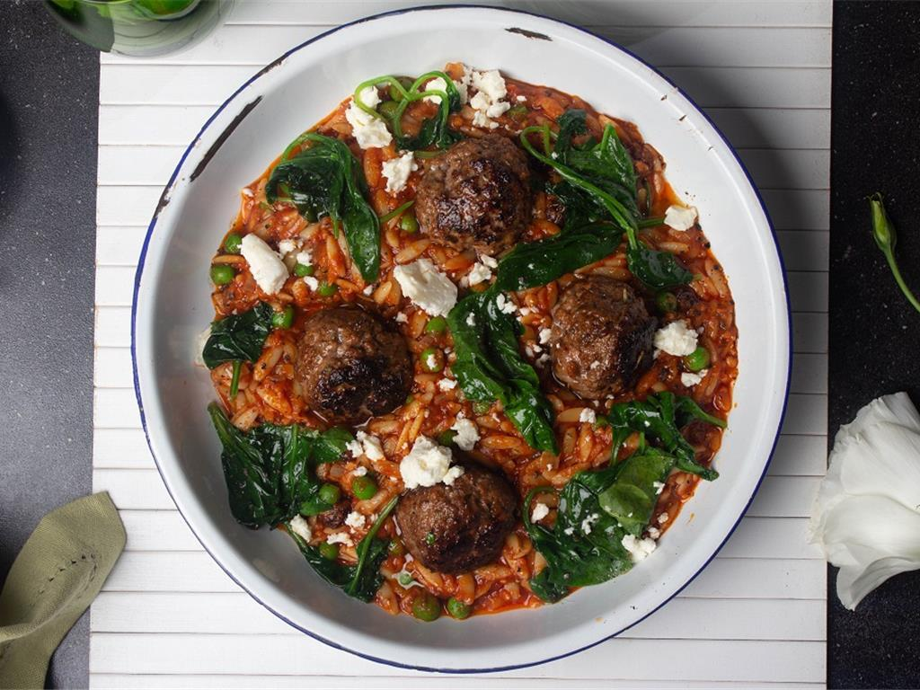 Meatball Orzo with Greens and Feta